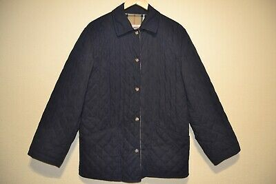 Burberrys of London Women Nova Check Plaid Quilted Jacket Color Blue Navy