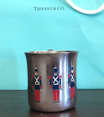 Vintage Tiffany & Co Makers Sterling Silver Baby Cup Soldiers RARE 23245 F