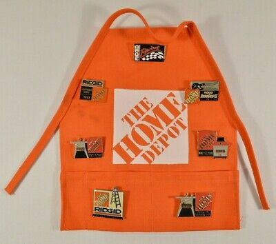 Lot of 7 RIDGID / Home Depot Enamel Hat Pins on Mini Promo Apron RARE