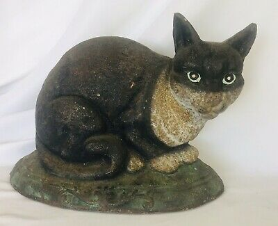 "Vintage Antique Cast Iron Black & White CAT DOOR STOP 8 Lbs. 11.5"" L. x 8.75"" H"