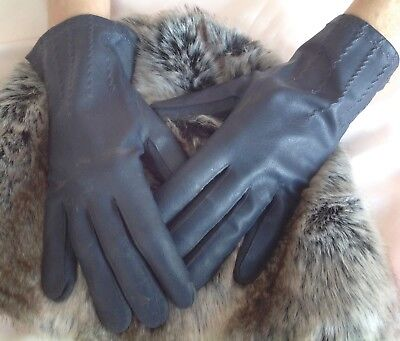 Vintage Empire Made Faux Leather Ladies Navy Gloves