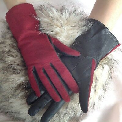 Vintage Super Soft Suede & Leather Ladies Maroon & Navy Gloves Re-enactment