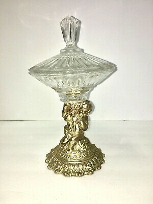 vintage gilded gold tone glass cherub compote candy dish hollywood