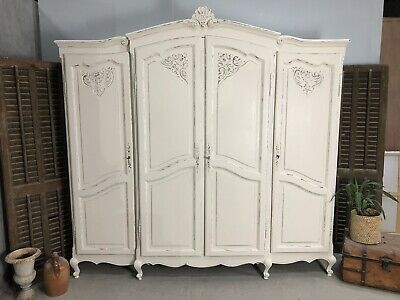 Vintage French Armoire/4 Door French Wardrobe / Painted Shabby chic style VB629