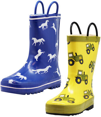 Norty New Toddlers Big Kids Boys Girls Waterproof Rubber Rain Boots Little
