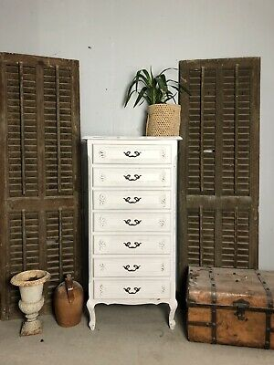 Vintage French chest of drawers / Painted Shabby Chic Style / Tall Boy Chest
