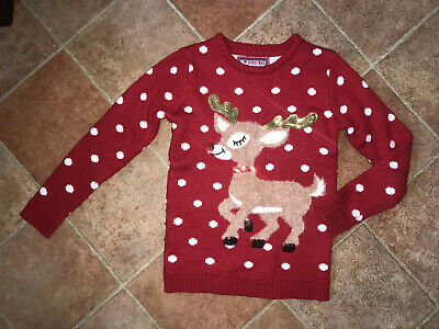 Girls Red Knitted Fluffy Reindeer Rudolph Christmas Jumper Top 9-10 Years