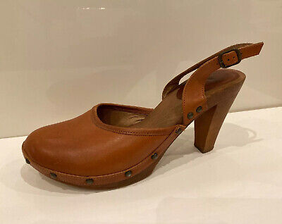 Women's Vintage TOPSHOP Leather Heels Shoes Size 6 Platform 90s Clogs Eur 39