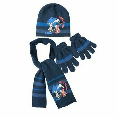 New Boys Sonic The Hedgehog 3 Pcs Winter Hat Gloves & Scarf Set Age 3-8 Years