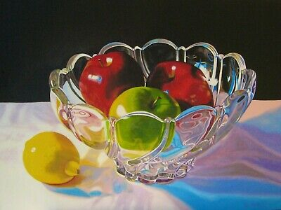"""Diana Fritch, """"Apples And Lemon"""", 12"""" X 16"""" X 2""""  Original Oil Painting"""