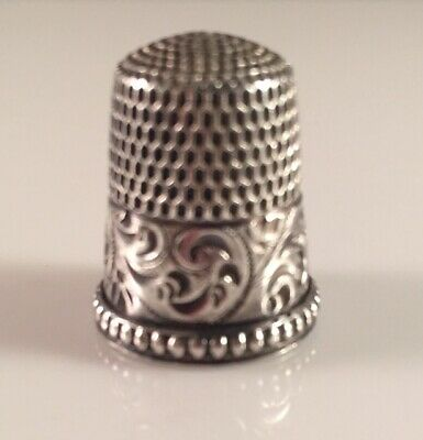 Antique Sterling Silver Thimble - Size 8  - Beautiful & Ornate