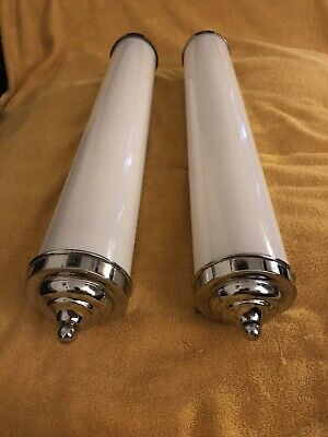 Big Art Deco Tube Lights /Pair Chrome White ..Excellent Rare