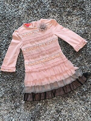 Good Condition - Kate Mack Dress - Frill - Age 4 Years Dusky Pink & Grey