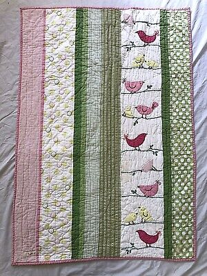 Pottery Barn Kids Penelope Birds Crib Quilt Blanket Pink Green Tweet Patchwork