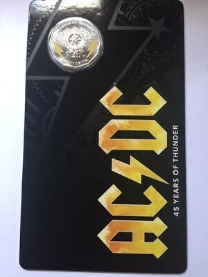 Australia 2018 50 Cents Ac/Dc 45 Years Of Thunder Coloured Uncirculated Coin