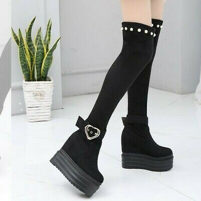 Womens Over The Knee High Buckle Wedge Ladies Stretch Long Thigh Leg Boots Club