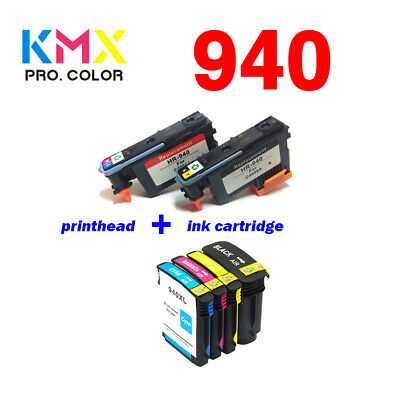2PK Printhead and 5PK Ink Cartridge for HP940 Fit Officejet Pro 8000 8500A Plus