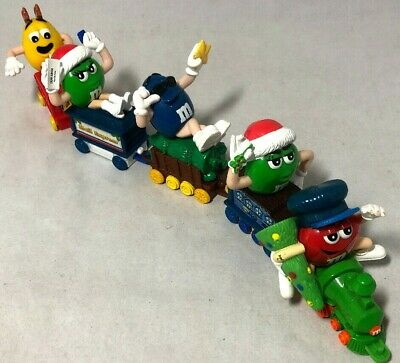 5 Mars M&M 2005 Train Cars Red Blue Two Green Yellow Christmas Toppers