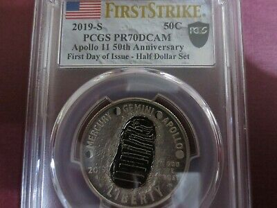 2019 S Apollo 11 50th Ann. Proof Half Dollar PCGS PR70DCAM FIRST DAY OF ISSUE..