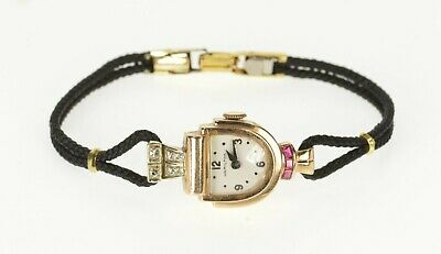 1930's Art Deco Diamond Ruby Hamilton Women's Watch *99