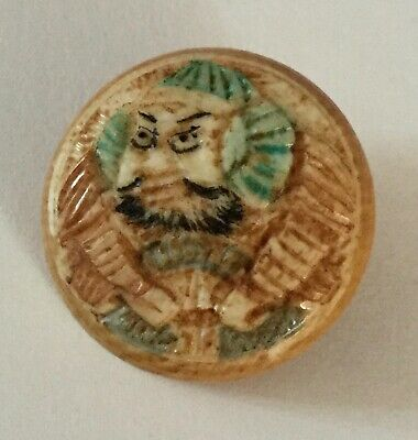 Antique Carved  Color Tint Asian Figure Old Button