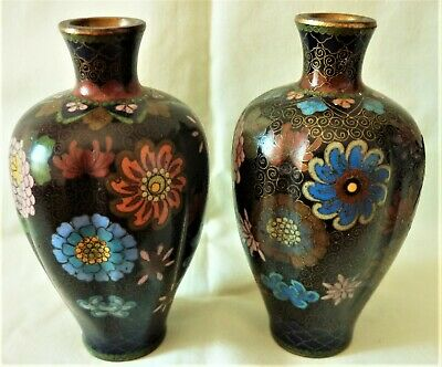 Pair Of Small Antique Japanese Cloisonne Vases - Late Meiji Period