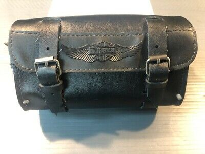 "Harley Davidson Handlebar/Fork Bag 8"" Black Leather 91744-87T"