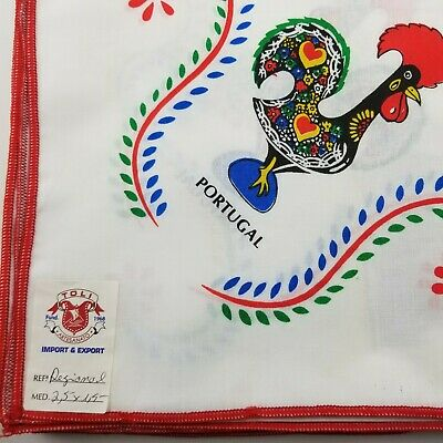 Vintage X-LARGE Tablecloth Portuguese Barcelos Roosters Colorful 94X59 NWT