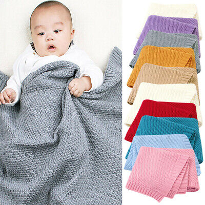 Baby Knitted Newborn Swaddle Wrap Stroller Blankets Soft Bedding Quilt Throws UK