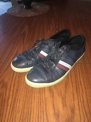 MONCLER LYON NAVY Blue Leather High Tops Sneakers size US 9