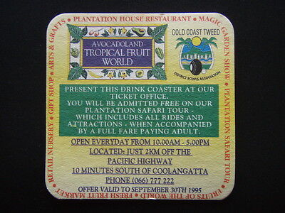 Avocadoland Tropical Fruit World Magic Garden Show Gift Shop 066 777222 Coaster