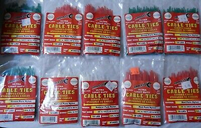 Tool City 4 in Green White Red Cable Tie Lot of 10 1000 Pieces Nylon 18 Lb 14008