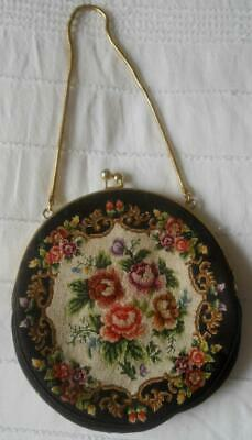 Sweet Vintage Hand Worked Petit Point Roses On Black Tapestry Evening Bag