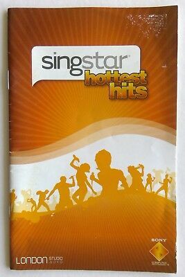 Singstar Hottest Hits Sony PlayStation Manual Only Instruction Booklet