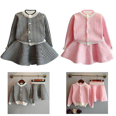 Girl Long Sleeve Coat Tops+Skirt Outfit Clothes Dress Kids Plaid Knitted Sweater