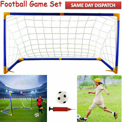 Large Kids Childs Football Goals Post Net Ball With Pump Indoor & Outdoor Soccer