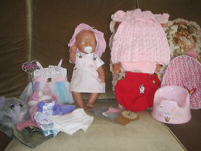 Zapf Creations baby born doll pink eyes singing potty 8 outfits accessories