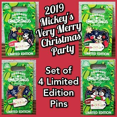 Set of 4 Disney Parks Mickey's Very Merry Christmas Party 2019 Pins LE 5000 New