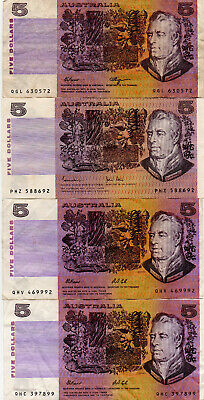 4x $5 PAPER NOTES 3 aVF 1 Fine+ COMBINED POST WELCOME