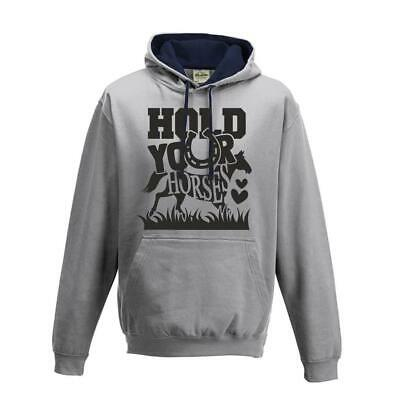 Women`s Kids Childs Horse Riding Jumping Hoody Hold Your Horses Equestrian Top