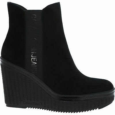 CALVIN KLEIN CK JEANS Women's Blk Wedge Suede Leather Ankle Boots:UK4,5,6 7