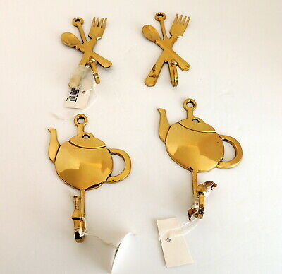 4 Brass Hooks Kitchen Tea Pot Flatware Decor Wall Hanging NEW Towel Hanger