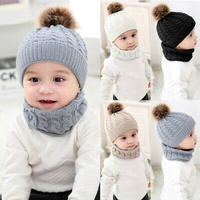 Winter Toddler Baby Girls Boys Warm Solid Knitted Beanie Cap+Scarf Keep Warm Set