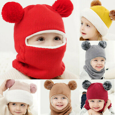 Winter Kid Boy Girl Casual Hooded Scarf Caps Hat Warm Knitted Crochet Beanie Hat