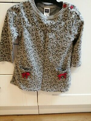 Girls Grey Leopard Print Knitted Dress Age 9-12 months