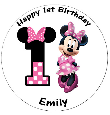 Astonishing Minnie Mouse 1St Birthday Personalised Cake Topper 7 5 Edible Funny Birthday Cards Online Kookostrdamsfinfo