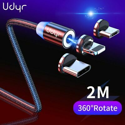 Udyr 1-2m Magnetic Cable Micro USB Type C Cable For IPhone XS Samsung Fast