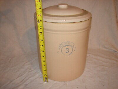 Vintage Stoneware Crock #3 Eagle With Wings & #3 Lid Cover