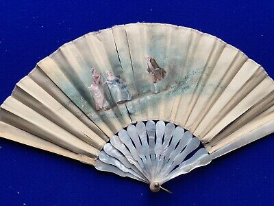 Vintage hand painted, signed, silk, Mother of Pearl hand fan