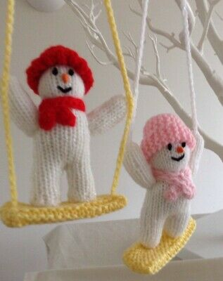 Hand Knitted Snowmen On Swing Tree Decorations